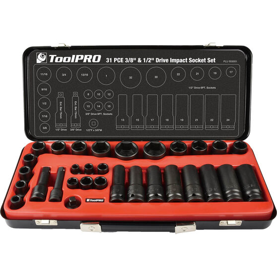 ToolPRO Impact Socket Set - 1 / 2inch / 3 / 8inch, Metric / Imperial, 31 Piece, , scaau_hi-res