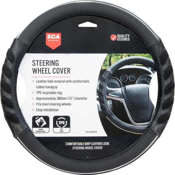 SCA Steering Wheel Cover - Leather Look & Rubber, Black and Grey, 380mm diameter, , scaau_hi-res