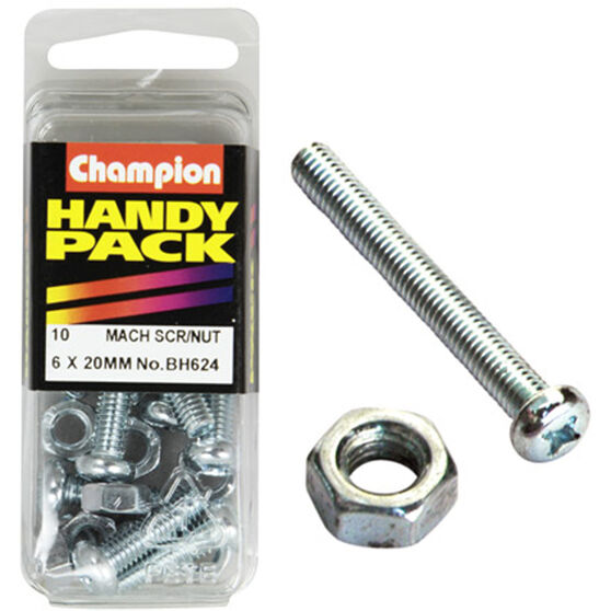 Champion Mach Screws / Nuts - 6mm X 20mm, BH624, Handy Pack, , scaau_hi-res