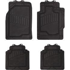Semi-Tailored Rubber Floor Mats Sedan/Hatch Black Set of 4, , scaau_hi-res