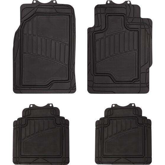 Semi-Tailored Floor Mats Sedan/Hatch Black Set of 4, , scaau_hi-res