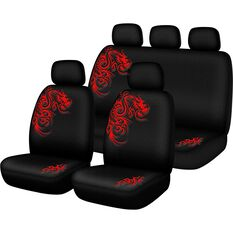 Dragon Seat Cover Pack - Red, Built-in Headrests, Size 30 and 06H, Front and Rear Pack, Airbag Compatible, , scaau_hi-res