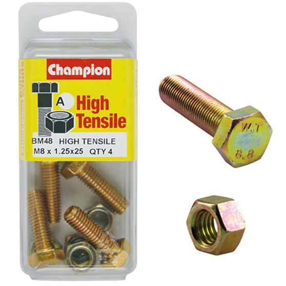 Champion High Tensile Bolts and Nuts - M8 X 25, , scaau_hi-res