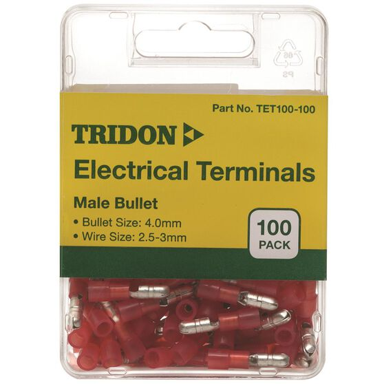 Tridon Electrical Terminals - Male Bullet, Red, 4mm, 100 Pack, , scaau_hi-res