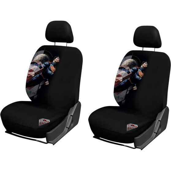 Superman Seat Covers Black Adjustable Headrests Size 30 Front Pair Airbag