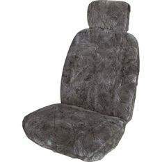 SCA Sheepskin Seat Cover - Charcoal, Adjustable Headrests, Size 30, Front Single, , scaau_hi-res