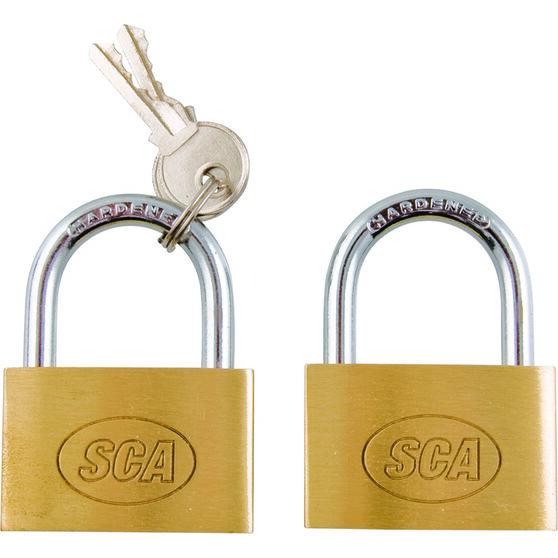 SCA Padlock - Brass, 40mm, 2 Pack, , scaau_hi-res