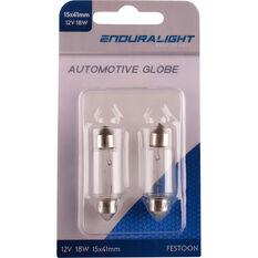 Enduralight Festoon Bulb - 12V, 18W, 15 X 41mm, , scaau_hi-res