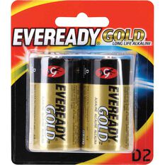 Gold Battery - Long Life Alkaline, D, 2 Pack, , scaau_hi-res