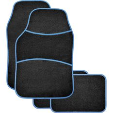 Sports Floor Mats - Carpet, Black / Blue, Set of 4, , scaau_hi-res