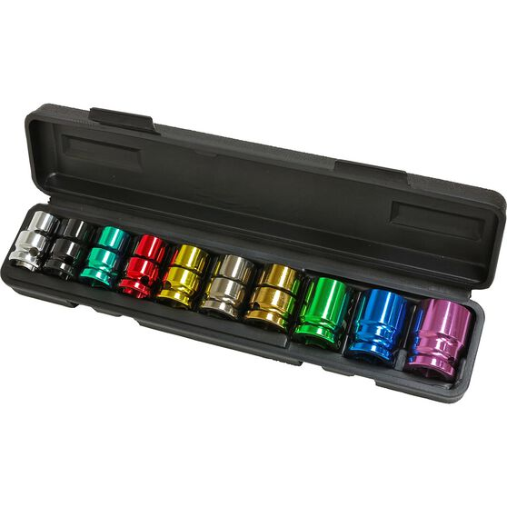 ToolPRO Impact Socket Set - 1 / 2inch Drive, Metric, 10 Piece, Coloured, , scaau_hi-res