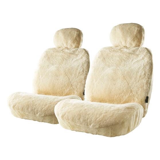 Gold Cloud Sheepskin Seat Covers - Bone, Adjustable Headrests, Size 30, Front Pair, Airbag Compatible Bone, Bone, scaau_hi-res