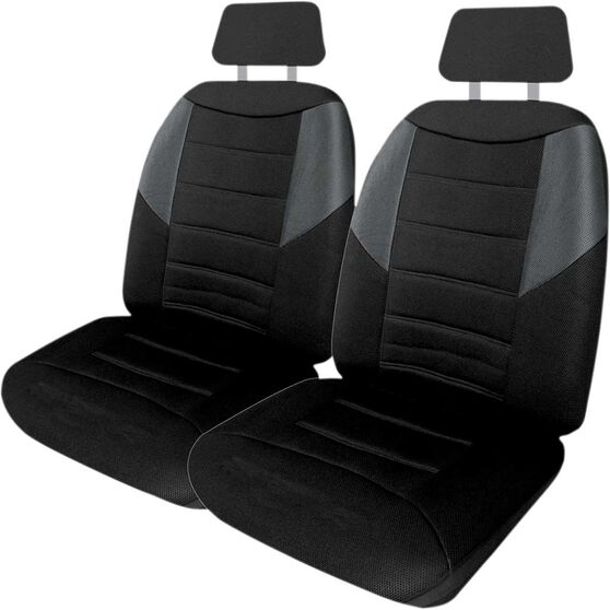 Carbon Mesh Seat Covers - Black and Grey, Adjustable Headrests, Size 30, Front Pair, Airbag Compatible, , scaau_hi-res