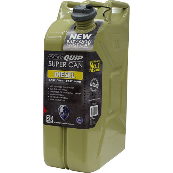 Pro Quip Supercan Metal Diesel Jerry Can - 20 Litre, , scaau_hi-res