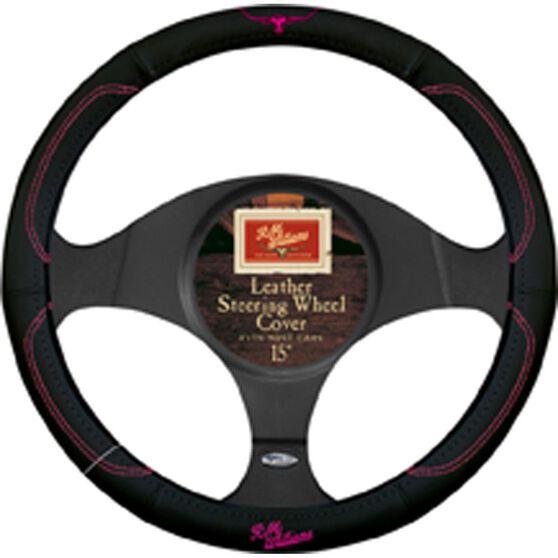 R.M.Williams Jillaroo Steering Wheel Cover - Leather, Black and Pink, 380mm diameter, , scaau_hi-res