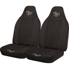 Suede Velour Seat Covers - Black, Built-in Headrests, Size 60, Front Pair, Airbag Compatible, , scaau_hi-res