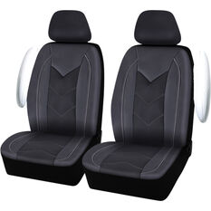 SCA Sports Leather Look And Mesh Seat Covers - Black And Grey, Adjustable Headrests, Airbag Compatible, , scaau_hi-res