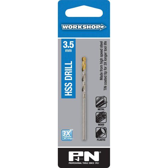 P&N Workshop Drill Bit HSS - Tin Tipped, 3.5mm, , scaau_hi-res