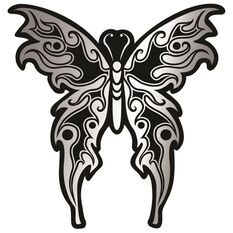 Hot Stuff Sticker - Tribal Butterfly, Chrome, , scaau_hi-res