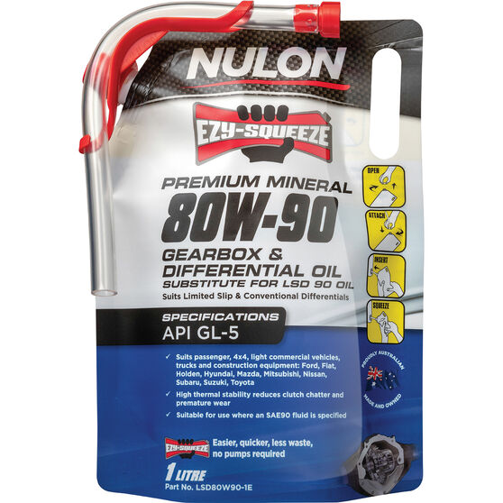 NULON EZY-SQUEEZE Gearbox & Differential Oil - 80W-90, 1 Litre, , scaau_hi-res