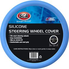 Steering Wheel Cover - Silicone, Blue, 380mm diameter, , scaau_hi-res