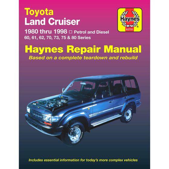Haynes Car Manual For Toyota Landcruiser Petrol and Diesel 1980-1998 - 92751, , scaau_hi-res