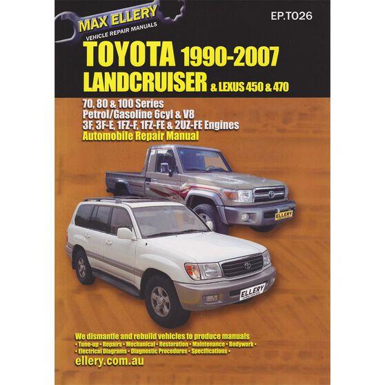 max ellery car manual for toyota landcruiser 1990-2007 - ep t026, ,