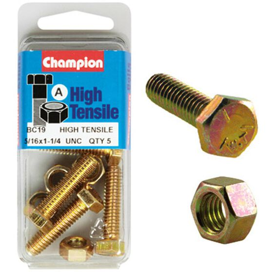 Champion High Tensile Bolts and Nuts - UNC 1-1 / 4inch X 5 / 16inch, , scaau_hi-res