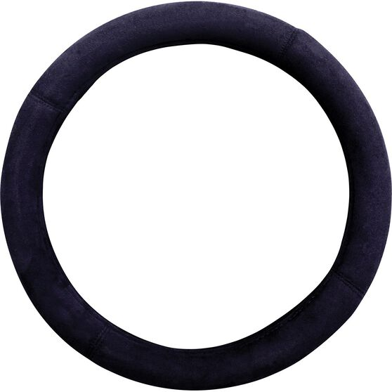 Premium Cloud Suede Steering Wheel Cover - Suede, Black, 380mm diameter, , scaau_hi-res