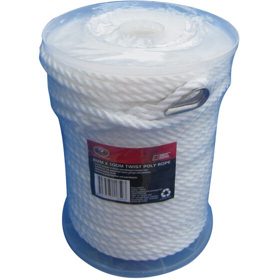 SCA 3 Strand Twist Poly Rope - 8mm X 100m, , scaau_hi-res
