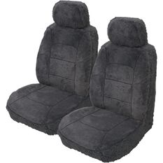Silver Cloud Sheepskin Seat Covers - Black, Adjustable Headrests, Size 30, Front Pair, Airbag Compatible, Slate, scaau_hi-res