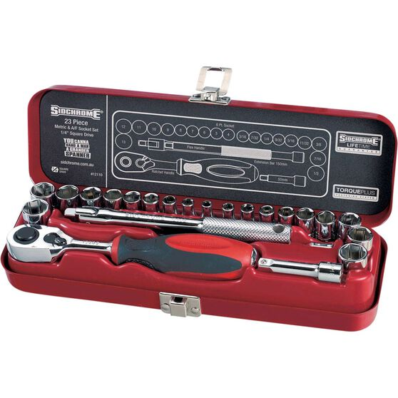 Sidchrome Socket Set - 1 / 4 inch Drive, 23 Piece, , scaau_hi-res