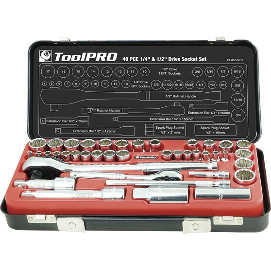ToolPRO Socket Set - 1 / 4 inch and 1 / 2 inch Drive, Metric / Imperial, 40 Piece, , scaau_hi-res