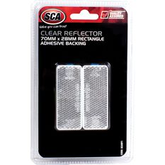 Reflector - Rectangle, 70 x 28mm, Clear, 2 Pack, , scaau_hi-res
