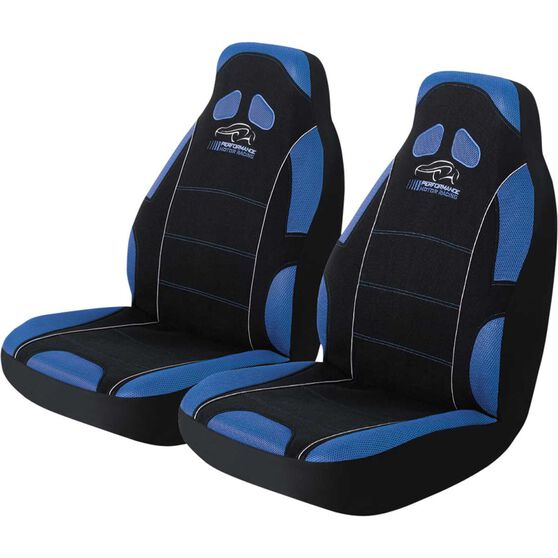 Performance Racing Seat Covers - Blue, Built-in Headrests, Size 60, Front Pair, Airbag Compatible, , scaau_hi-res