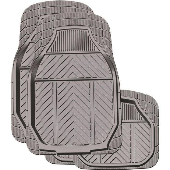 Deep Dish Car Floor Mats - Rubber, Charcoal, Set of 4, , scaau_hi-res