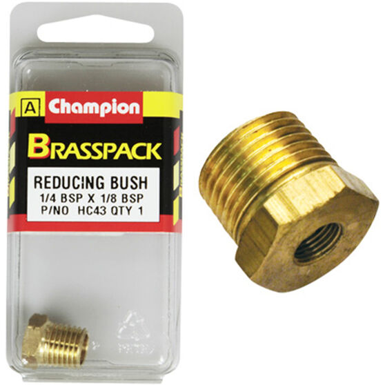Champion Hex Reducing Bush - 1 / 4-1 / 8inch, Brass, , scaau_hi-res