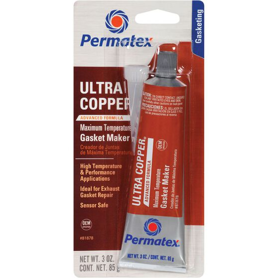Permatex RTV Silicone Gasket Maker, Maximum Temperature - Ultra Copper, 85g, , scaau_hi-res