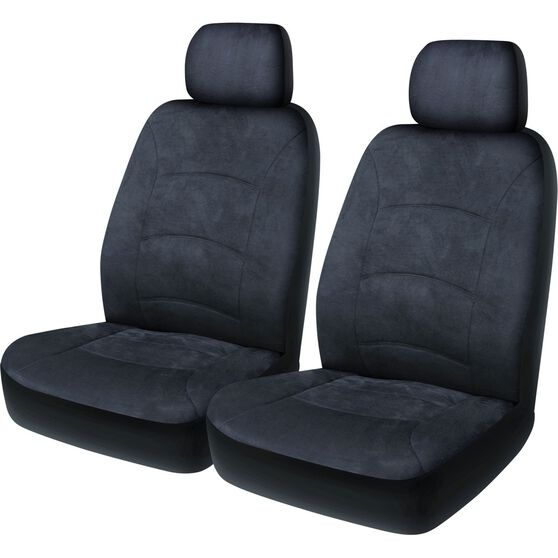 Cloud Premium Suede Seat Covers - Charcoal, Adjustable Headrests, Size 30, Front Pair, Airbag Compatible, , scaau_hi-res