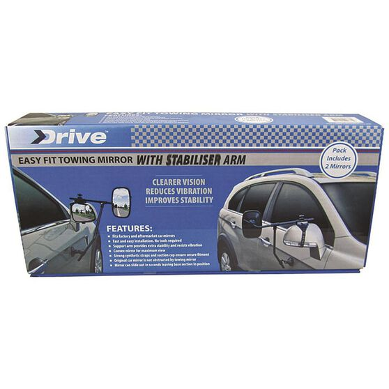 Drive Towing Mirror - With Stabiliser Arm, 2 Pack, , scaau_hi-res