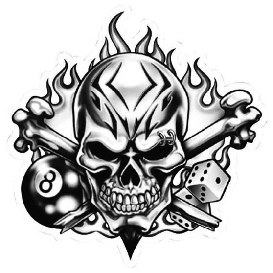 Hot Stuff Sticker - Skull 8 Ball, Vinyl, , scaau_hi-res
