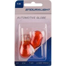 Wedge Bulb Amber 12V 21W T-20MM, , scaau_hi-res