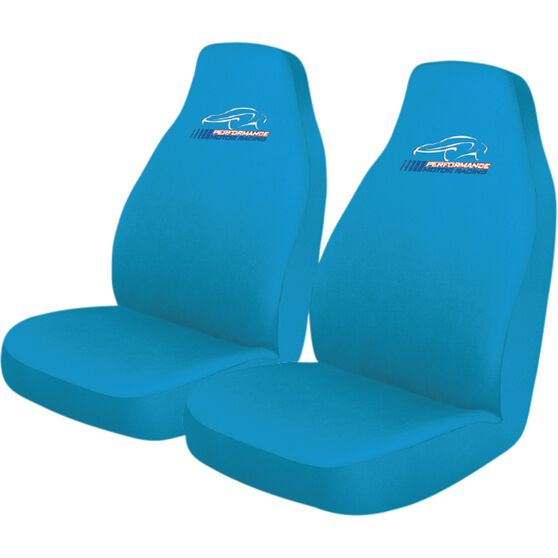 Performance Racing Slip On Seat Covers - Blue, Built-in Headrests, Size 60, Slip On, Front Pair, , scaau_hi-res