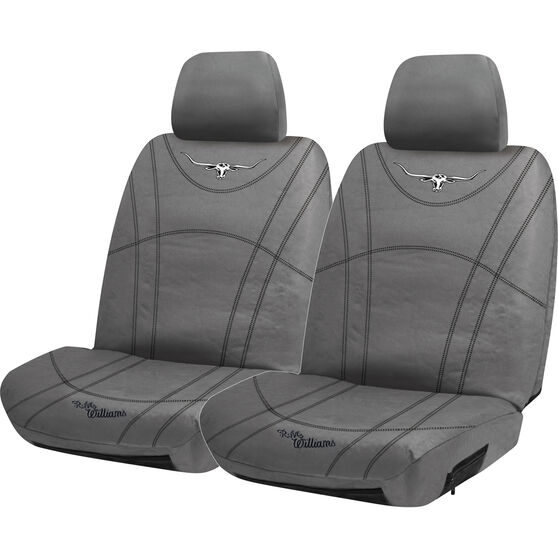 R.M. Williams Canvas Seat Cover - Charcoal Adjustable Headrests Size 30, , scaau_hi-res
