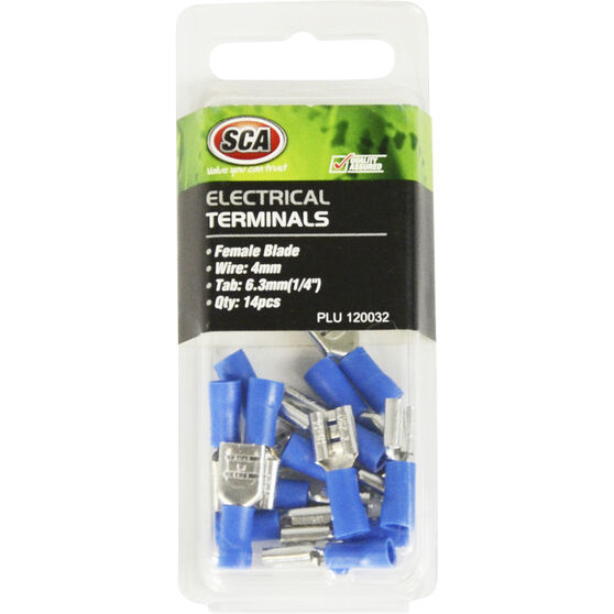 SCA Electrical Terminals - Female Blade, Blue, 6.3mm, 14 Pack, , scaau_hi-res
