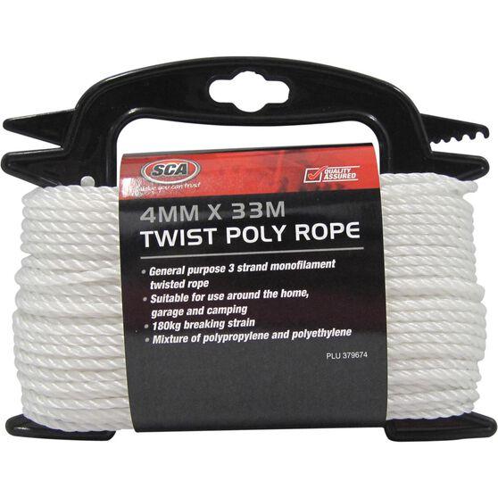 SCA 3 Strand Twist Poly Rope - 4mm X 33m, , scaau_hi-res