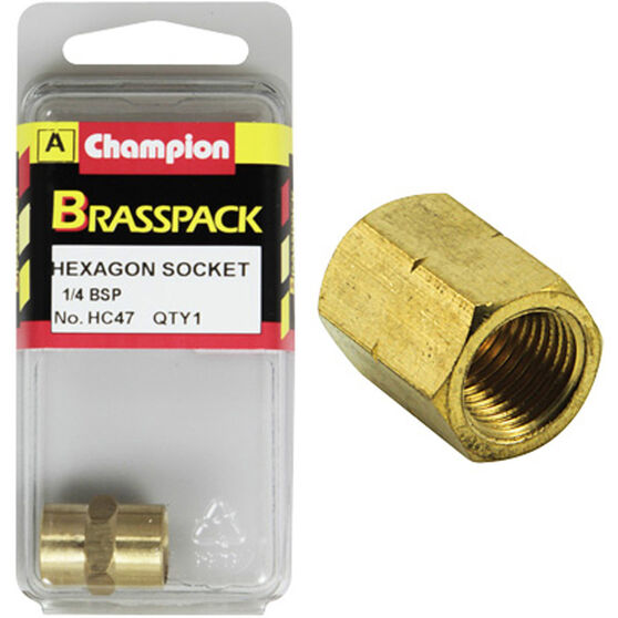 Champion Hex Socket - 1 / 4inch, Brass, , scaau_hi-res