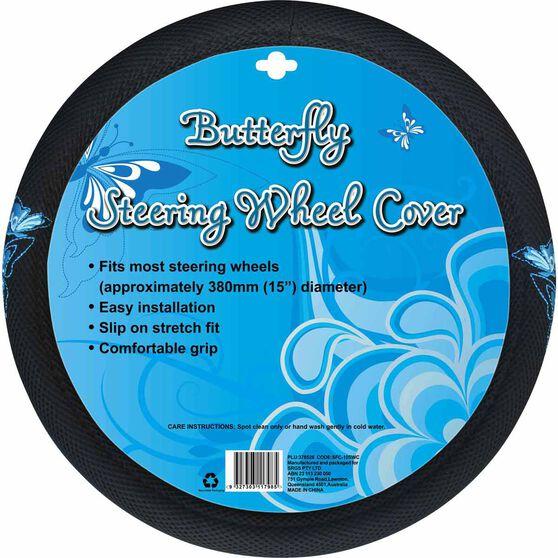 Butterfly Steering Wheel Cover - Mesh, Blue, 380mm diameter, , scaau_hi-res