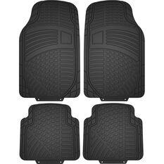 SCA Car Floor Mats & Boot Mat - Rubber, Black, Set of 5, , scaau_hi-res