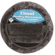 Steering Wheel Cover & Seat Belt Buddies - Sheepskin, Slate, 380mm diameter, , scaau_hi-res